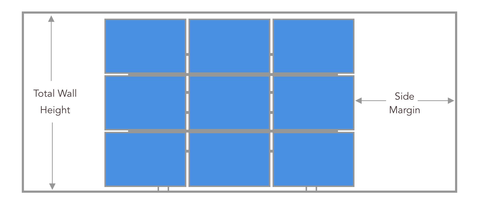 video grid display with displays installed