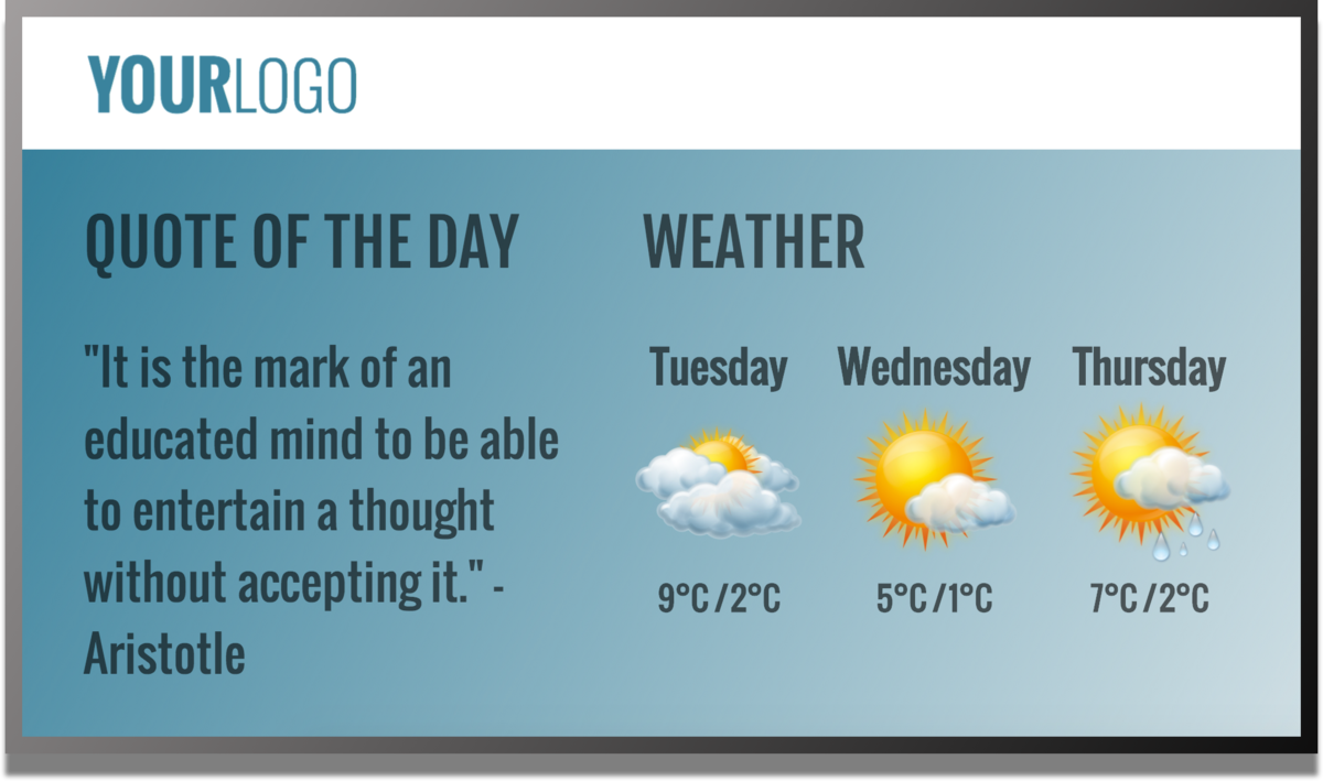 quote and weather digital signage template