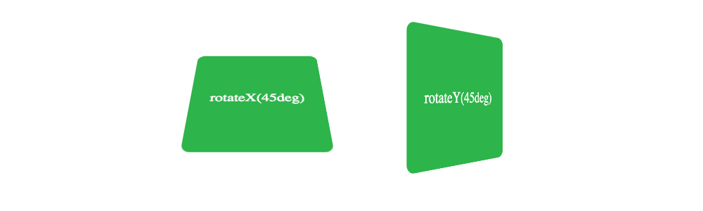 Webkit Transform Rotate X and Y 45 Degrees Example