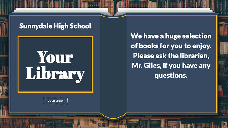 welcome to library digital signage template.