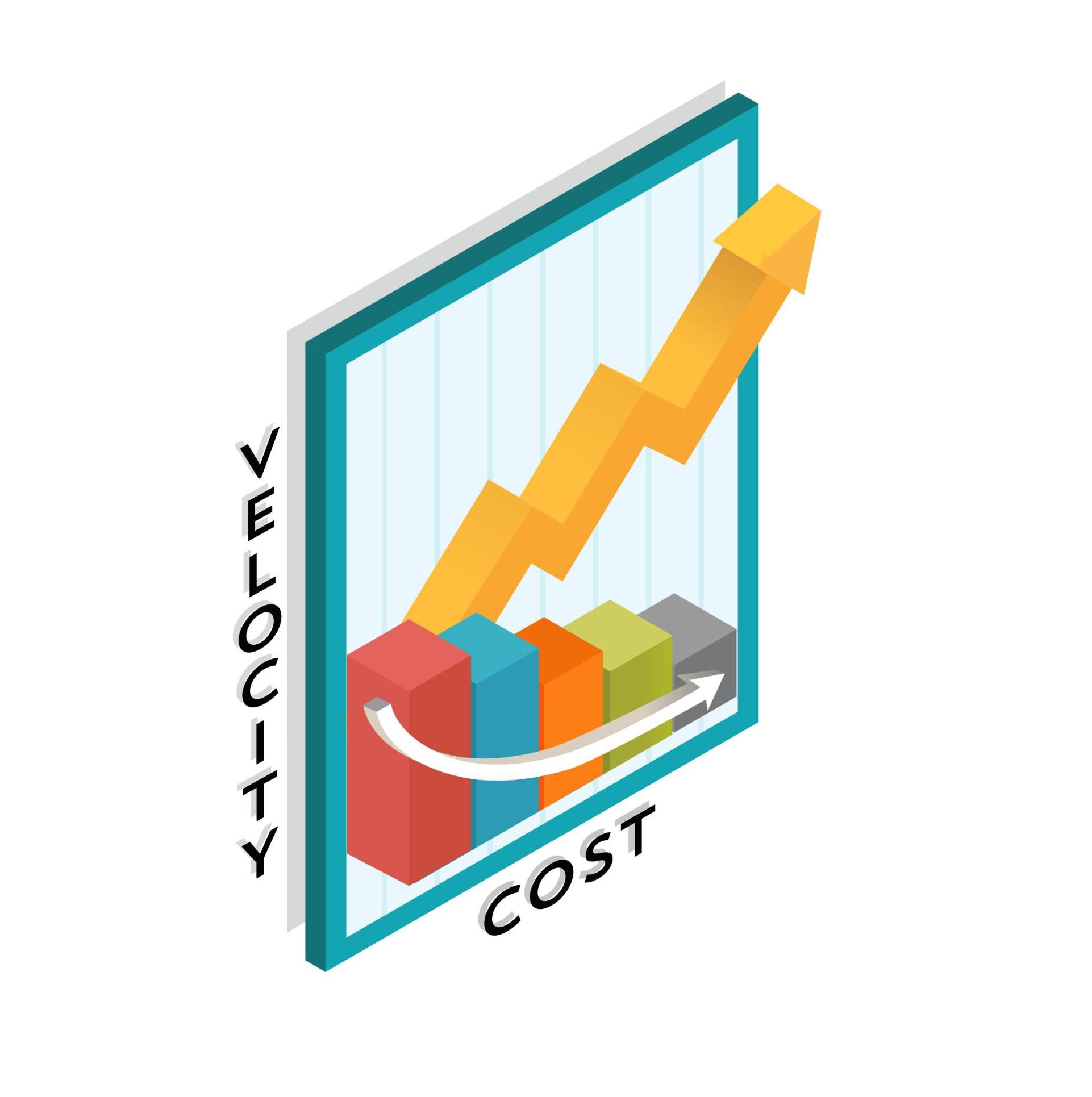 A chart showing cost decreasing as velocity increases