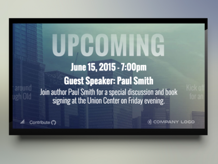 Digital Signage Template Promoting Upcoming Events
