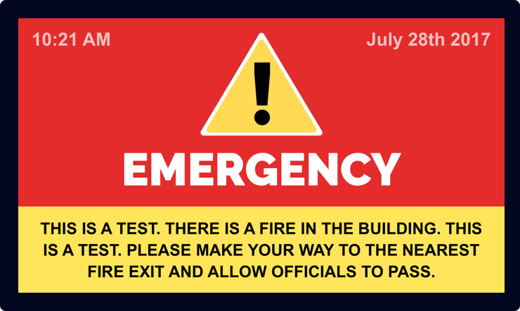 Emergency Alert Signage Template