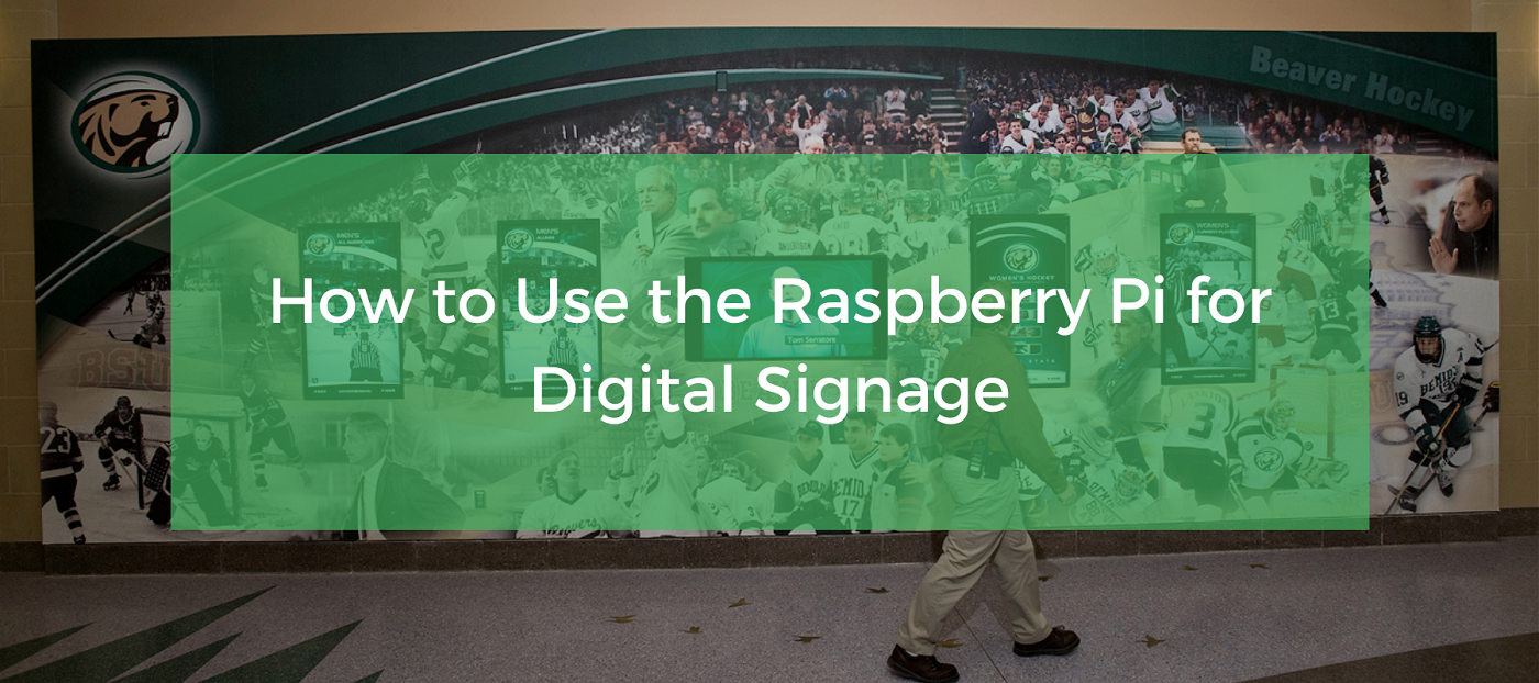 A row of digital signs using the Raspberry Pi as a digital signage media player