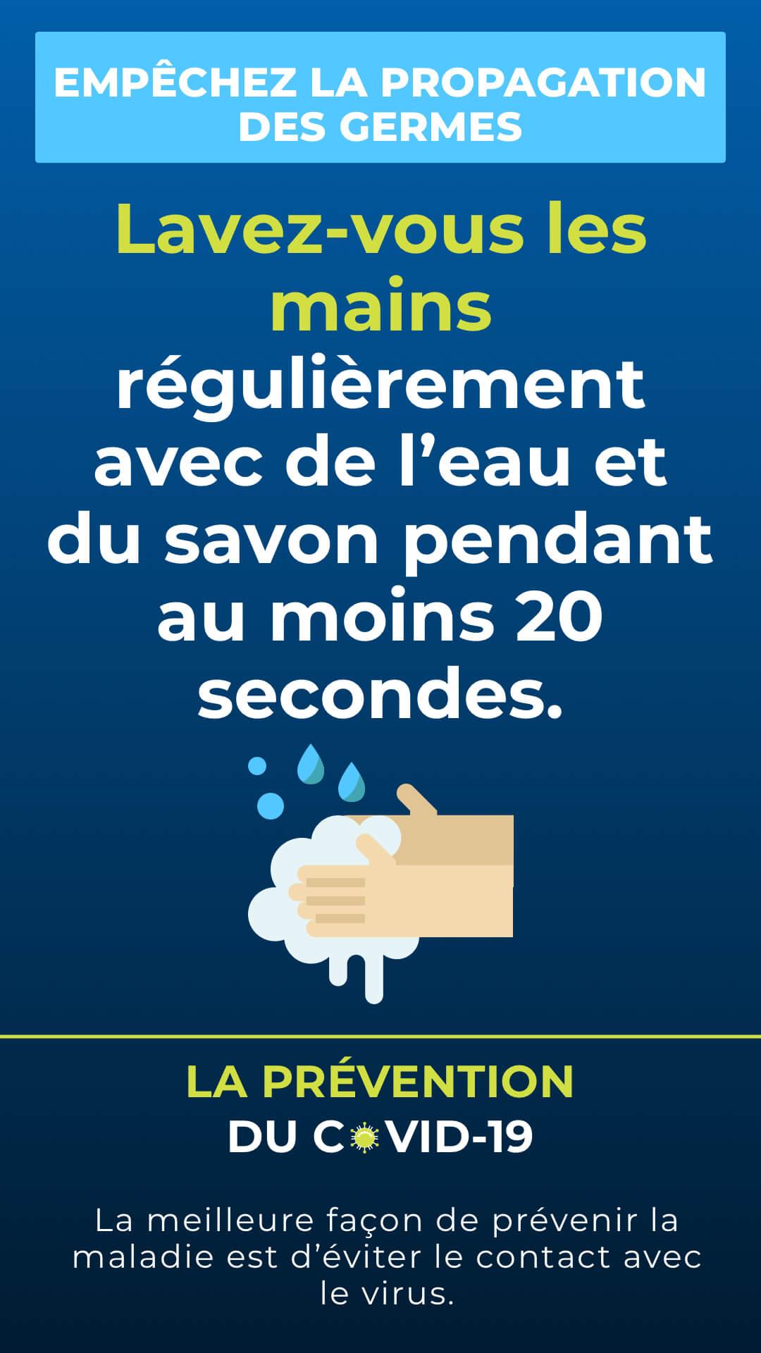En Français - Conseils COVID-19 - Orientation Portrait Digital Signage Template